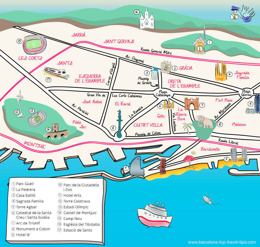 map barcelona illustrated: festas majors